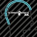 key, male, man, mental, new, skills, solution icon
