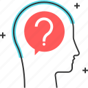 avatar, chat bubble, dialogue, male, man, question mark icon