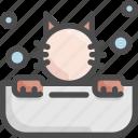 animal, bath, bathtub, cat, grooming, pet, shop icon