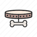 animal, bone, bowl, collar, dog, leash, tag icon