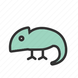 animal, chameleon, green, lizard, pet, reptile, tail icon