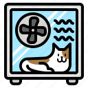 cat, dryer, drying, box, machine, hair