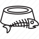 bowl, cat, eat, fish, food, pet, skeleton icon