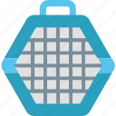 animal, baggage, cage, carrier, pet, transportation, travel icon