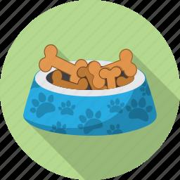 bone, bowl, dog, paw, pet icon