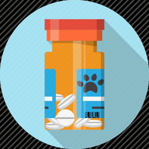 animal, bottle, box, medicine, paw, pills, prescription icon