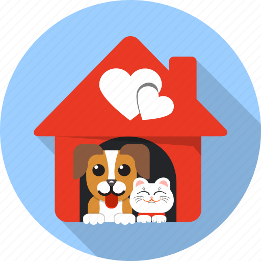 animal, cat, dog, friends, house, love, zoo icon