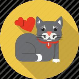 animal, cat, domestic, heart, kitty, love, pet icon