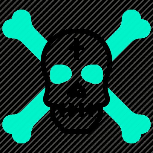 crossbone, death, pirate, skull icon