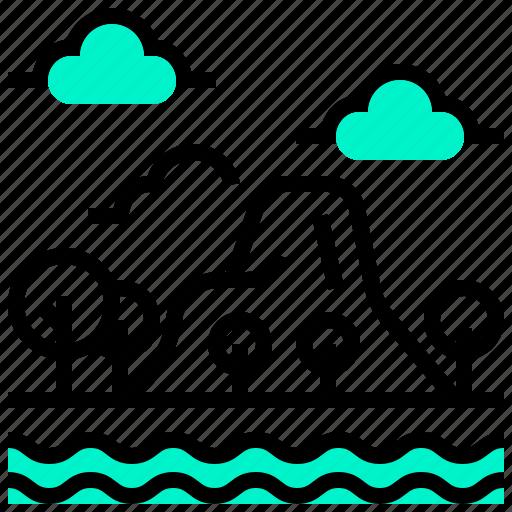 island, landscape, mountain, sea icon