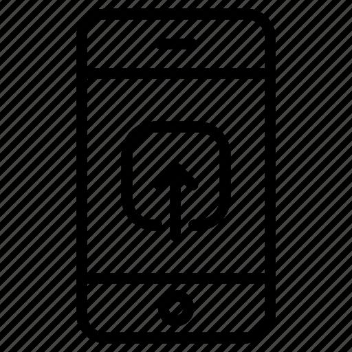 app, application, file, online, phone, smartphone, upload icon
