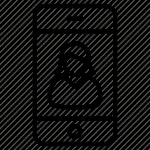 app, avatar, female, online, phone, smartphone, user icon