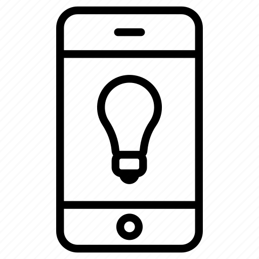 app, application, bulb, idea, online, phone, smartphone icon