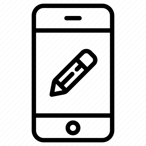 app, application, note, online, pencil, phone, smartphone icon