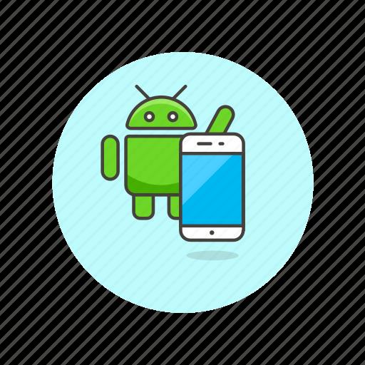 andoid, communication, device, electronics, os, phone, technology icon