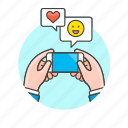 chat, communication, device, electronics, emoji, hand, phone, technology icon