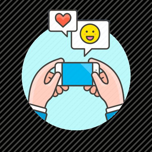 chat, communication, device, electronics, emoji, hand, phone, technology icon