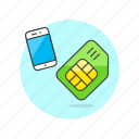 card, communication, contact, device, electronics, phone, sim, technology icon