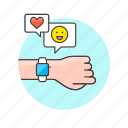 chat, electronics, emoji, heart, phone, smart, watch icon
