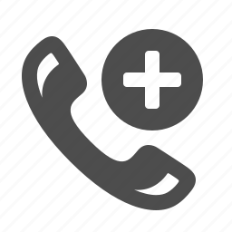 add, handle, handset, phone, phones, plus, telephone icon