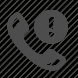 exclamation mark, handle, handset, phone, telephone, warning icon