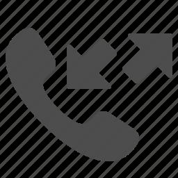 arrows, calls, communication, handle, handset, phone, telephone icon