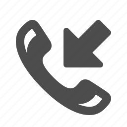 arrow, call, handle, handset, incoming, phone, telephone icon