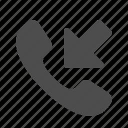 arrow, call, handle, handset, phone, phone call, telephone icon