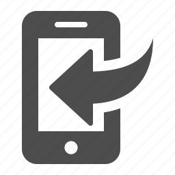 arrow, call, download, inbox, mobile phone, phone, smartphone icon