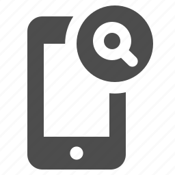 magnifying glass, mobile phone, phone, phones, smartphone, telephone, touchscreen icon