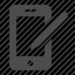 business, mobile phone, pda, phone, smartphone, stylus, telephone icon