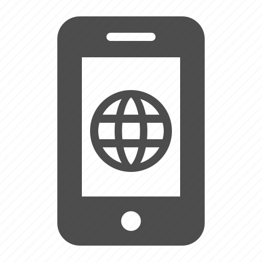 globe, mobile phone, network, phone, smartphone, telephone, web icon
