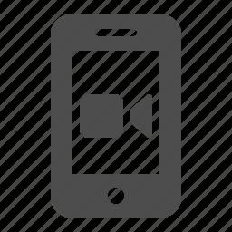 mobile phone, movie, phone, recording, smartphone, telephone, video icon