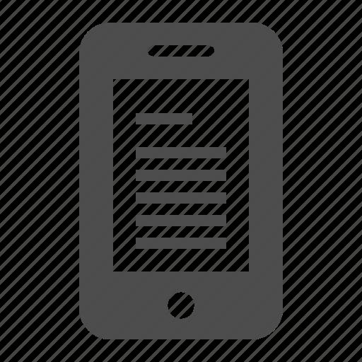 e-book, ebook, mobile phone, phone, reader, smartphone, telephone icon