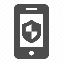 mobile phone, phone, security, shield, smartphone, telephone, touchscreen icon