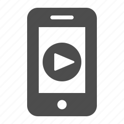 mobile phone, multimedia, phone, play button, smartphone, telephone, video player icon