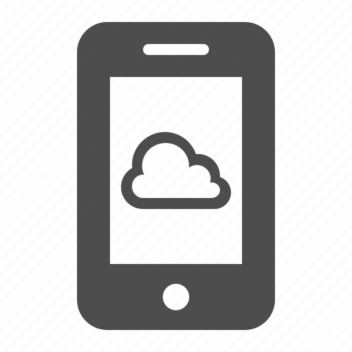 cloud computing, mobile phone, phone, smartphone, telephone, weather icon