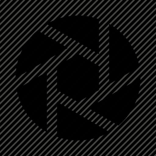 lens, shutter icon