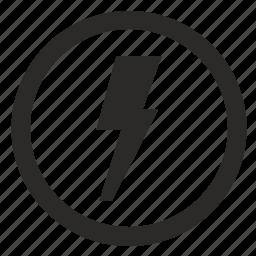 electric, electricity, error, notice, round, shock icon