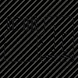 camera, card, flash, line, memory, outline, shadow icon