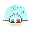 cinema, dimensional, glasses, movie, photo, three, video icon