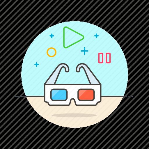 cinema, dimensional, glasses, movie, photo, three, video icon