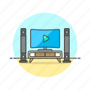 home, monitor, photo, speaker, theater, tv, video icon