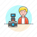 camera, image, man, photo, picture, shot, video icon