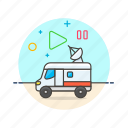 film, photo, record, satellite, truck, tv, van, video icon