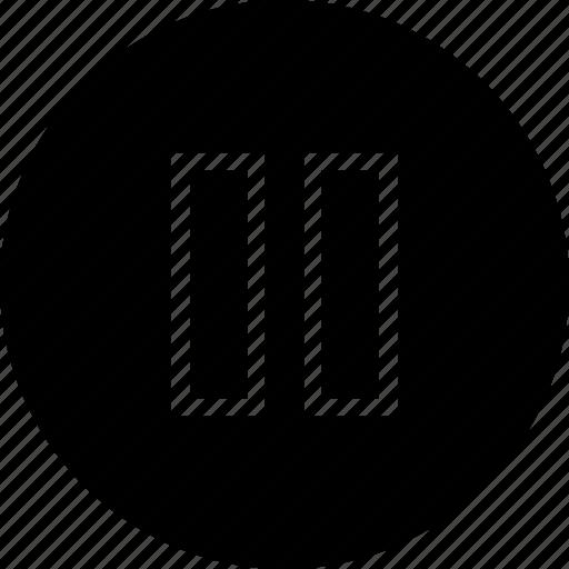 audio, film, logo, music, pause, sound, video icon