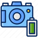 battery, camera, full, interface, photography icon