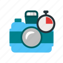 camera, countdown, film, lens, lense, photographer, timer icon