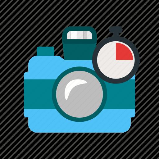 camera, countdown, film, lens, lense, photographer, timer icon