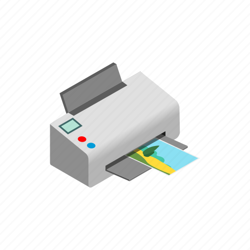 computer, ink, isometric, paper, photo, print, printer icon